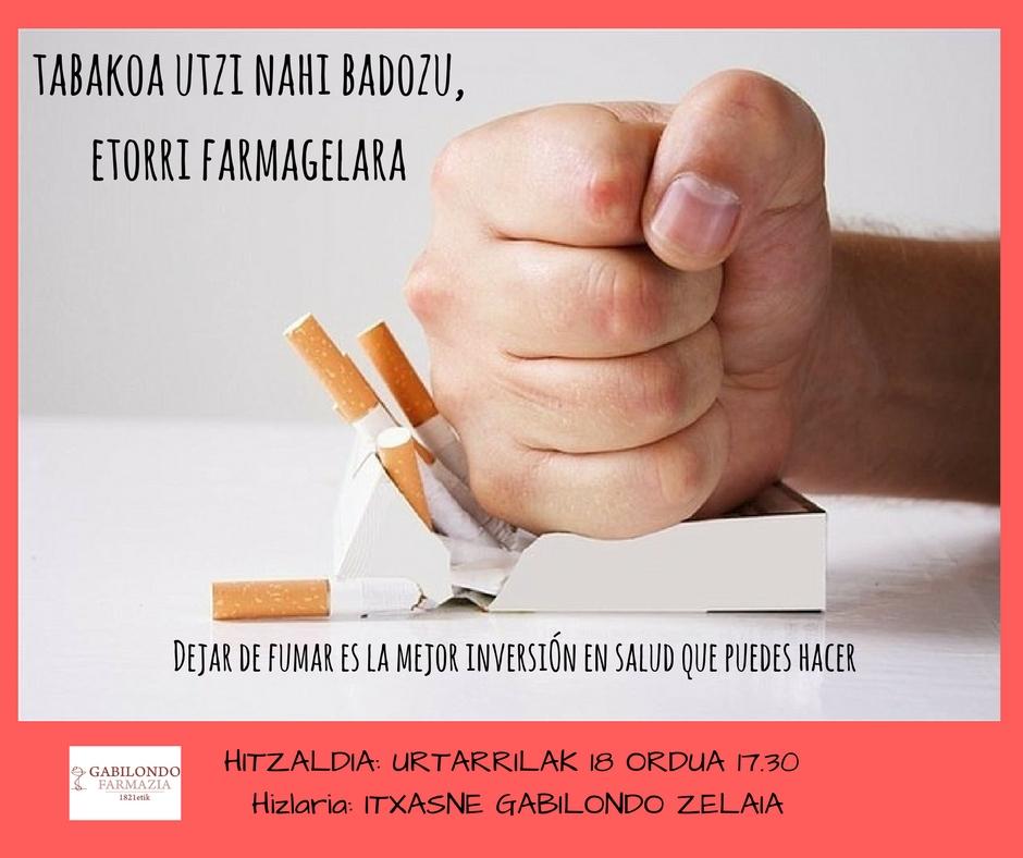 ¿Te gustaría dejar de fumar? El 18 de enero tienes cita en la Farmacia Gabilondo