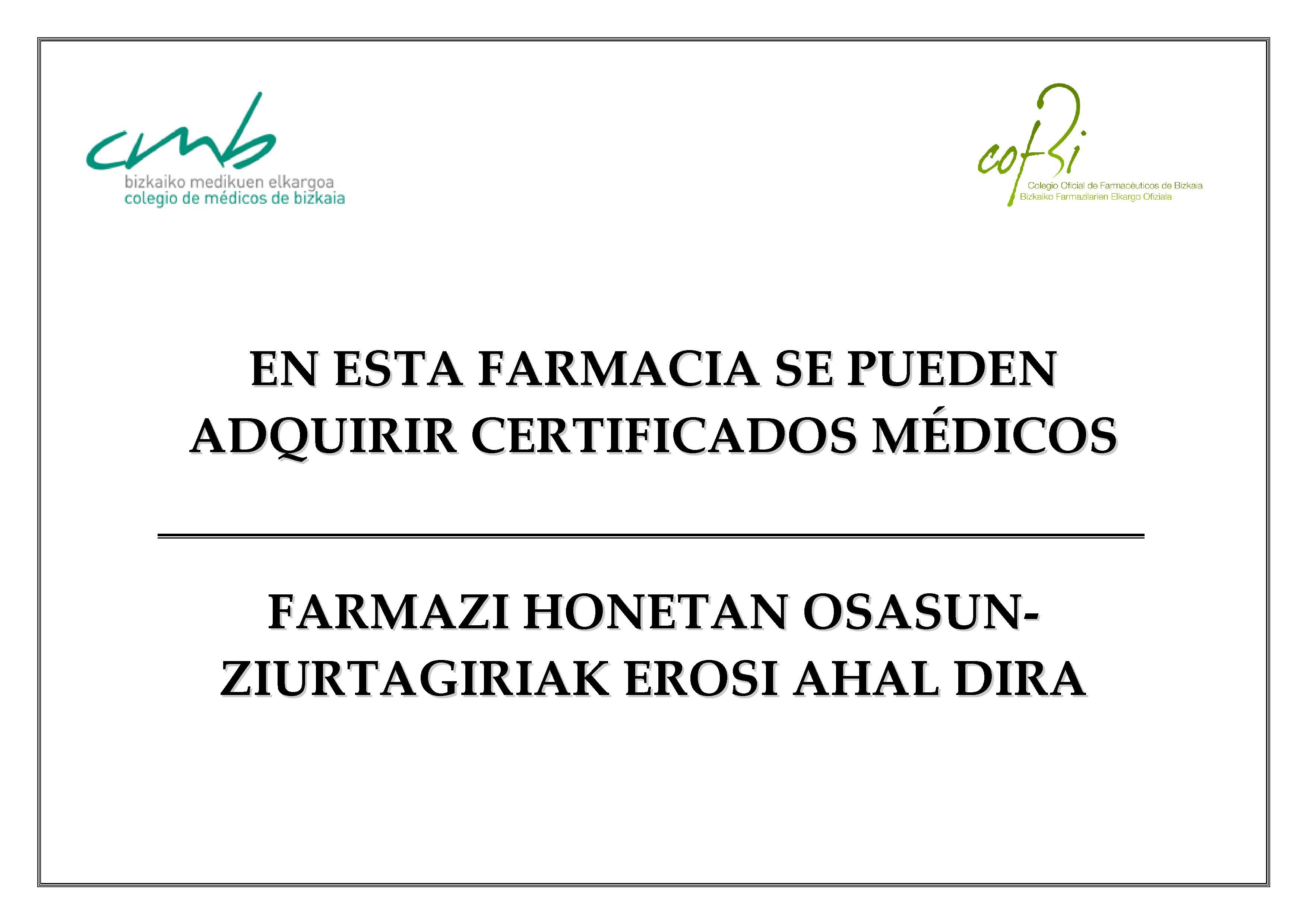 CERTIFICADOS MÉDICOS AHORA TAMBIÉN DISPONIBLES EN LA FARMACIA